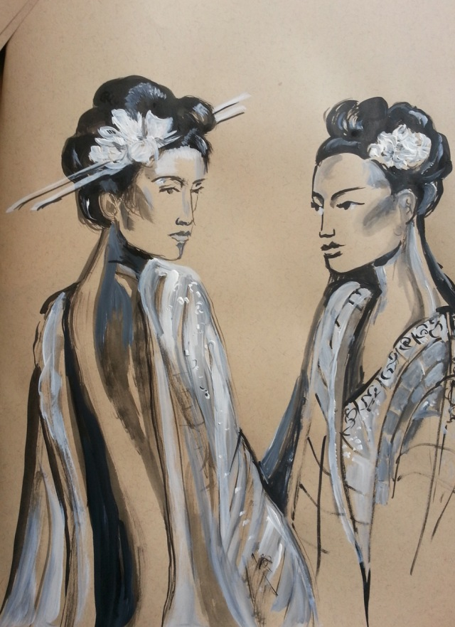 ink and acrylic sketch Asian