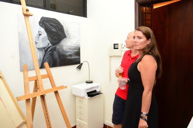 Art event featuring The Muse painting by Ingela Johansson with guests Wenche and Morten.