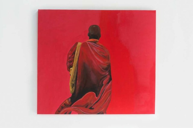 Red  monk in mixed media by artist Ingela Johansson.