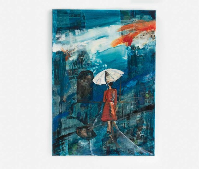 A collage by Ingela Johansson with mixed media title Blue Umbrella.