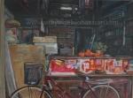 Little India bike shop art print by Ingela Johansson