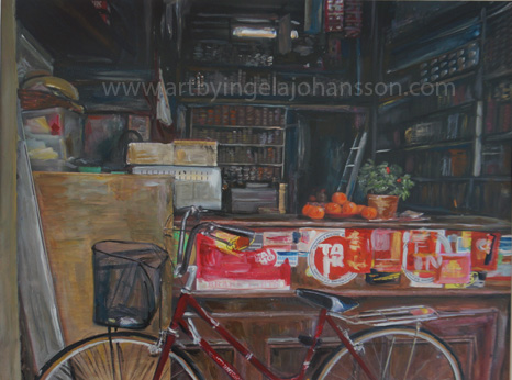 Little India bike shop art print by Ingela Johansson
