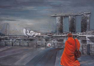 Monk at Marina Bay by Ingela Johansson